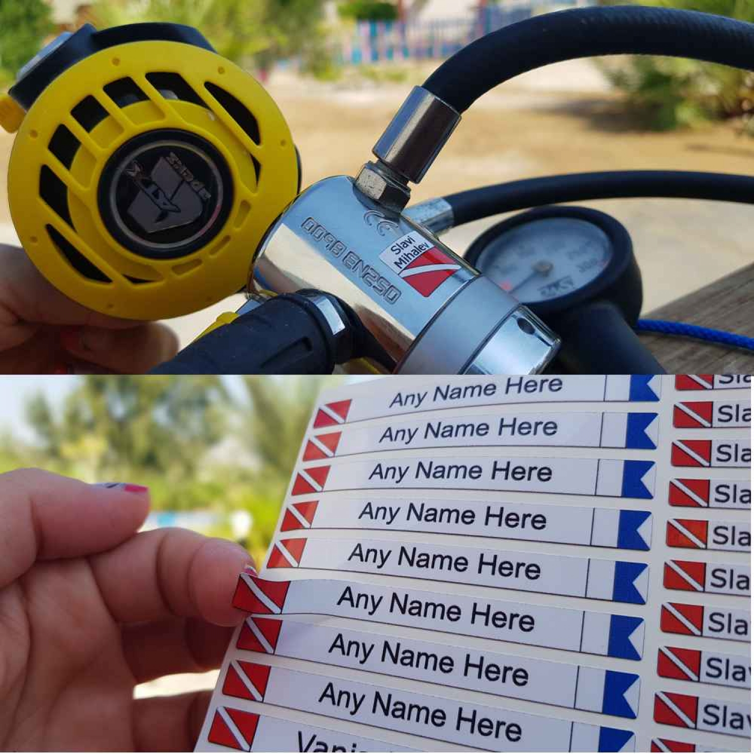 Personalized Sticker Labels for Diving Gear Identification